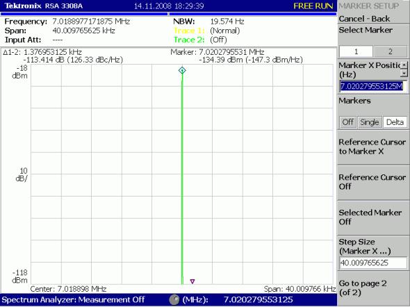 Рис 4. SDR-2000ua LO выход после формирователя DS90LV028 (Обзор  40kHz)