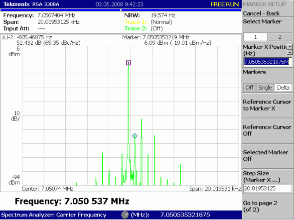 Рис 9. Выходной спектр передатчика после BPF 7.050 MHz LSB